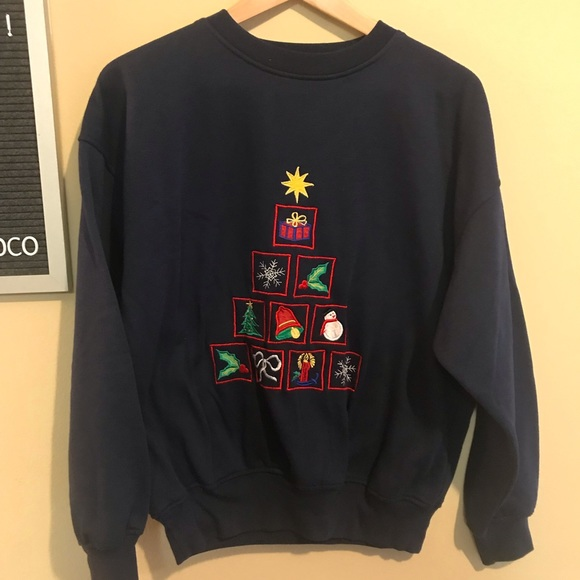 Vintage Tops - Christmas embroidered crewneck navy sweatshirt